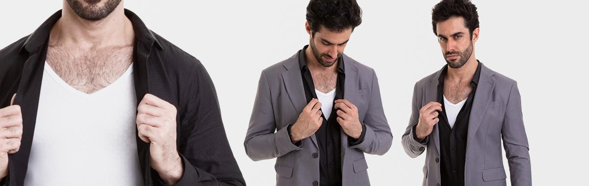 Camiseta gola V branca